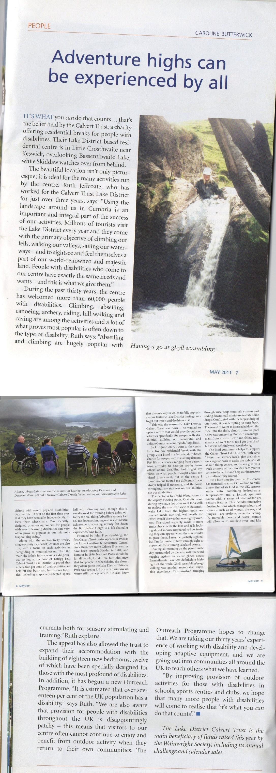 Calvert Trust Cumbria Article