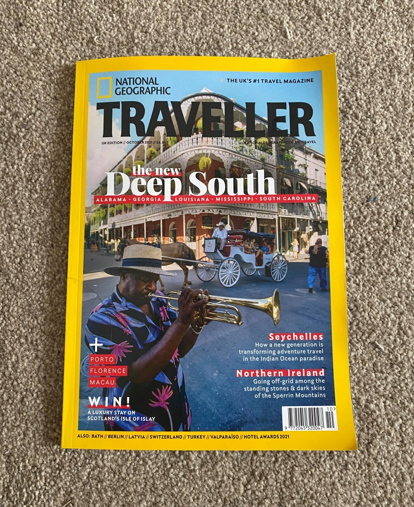 Photo shows the front cover of National Geographic Traveller magazine